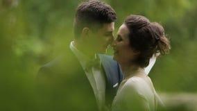 Η νύφη και ο νεόνυμφος εξετάζουν η μια την άλλη και ειλικρινά το γέλιο απόθεμα βίντεο