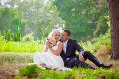 Η νύφη και ο νεόνυμφος κάθονται στη χλόη στο πάρκο στοκ φωτογραφία με δικαίωμα ελεύθερης χρήσης