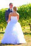 Η νύφη και ο νεόνυμφος κοιτάζουν αρχικά Στοκ Φωτογραφία