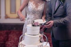 Η νύφη και ο νεόνυμφος κόβουν στενό τον επάνω γαμήλιων κέικ στοκ φωτογραφίες