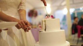 Η νύφη και ο νεόνυμφος κόβουν το κέικ με τα φρέσκα λουλούδια απόθεμα βίντεο