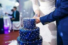 Η νύφη και ο νεόνυμφος κόβουν το μπλε γαμήλιο κέικ Στοκ φωτογραφία με δικαίωμα ελεύθερης χρήσης
