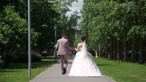 Η νύφη και ο νεόνυμφος περπατούν στο πάρκο απόθεμα βίντεο
