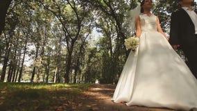 Η νύφη και ο νεόνυμφος περπατούν απόθεμα βίντεο