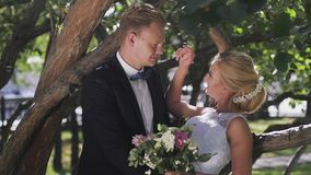 Η νύφη και ο νεόνυμφος που περπατούν στο πάρκο το καλοκαίρι Φιλί και αγκάλιασμα φιλμ μικρού μήκους