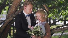 Η νύφη και ο νεόνυμφος που περπατούν στο πάρκο το καλοκαίρι Φιλί και αγκάλιασμα απόθεμα βίντεο