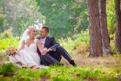 Η νύφη και ο νεόνυμφος που στηρίζονται στη χλόη στο πάρκο στοκ φωτογραφίες