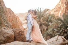 Η νύφη και ο νεόνυμφος στέκονται και αγκαλιάζουν στο φαράγγι στο κλίμα των βράχων και των φοινίκων Στοκ φωτογραφία με δικαίωμα ελεύθερης χρήσης