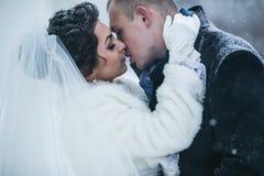 Η νύφη και ο νεόνυμφος στο υπόβαθρο μιας χειμερινής πόλης στοκ φωτογραφία με δικαίωμα ελεύθερης χρήσης