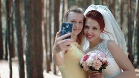 Η νύφη και friend της do selfie στο δάσος, ο αέρας αναπτύσσουν την τρίχα τους, κινηματογράφηση σε πρώτο πλάνο απόθεμα βίντεο