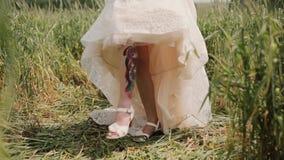 Η νύφη παρουσιάζει ζωηρόχρωμη δερματοστιξία στο πόδι της Ανυψώνει το φόρεμά της και αρχίζει σε έναν τομέα σίτου απόθεμα βίντεο