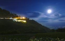 Η νύχτα κήπων λαχανικών και φραουλών βλασταίνει τη μακροχρόνια έκθεση με το φεγγάρι και το μπλε ουρανό σε Phu Tubberk, Ταϊλάνδη Στοκ Εικόνα