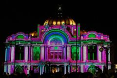 Η νύχτα παρουσιάζει Palacio de Bellas Artes, Πόλη του Μεξικού, Μεξικό Στοκ Φωτογραφία