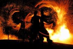 η νύχτα πυρκαγιάς εμφανίζε& Στοκ Εικόνες