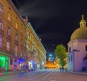 Η νύχτα σε παλαιό Lvov Στοκ εικόνα με δικαίωμα ελεύθερης χρήσης