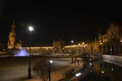 Η νύχτα στη Σεβίλη Plaza de España Στοκ εικόνα με δικαίωμα ελεύθερης χρήσης