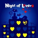 Η νύχτα των εραστών βαλεντίνος καρτών s ημέρας Στοκ εικόνες με δικαίωμα ελεύθερης χρήσης