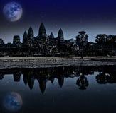 Η νύχτα Angkor wat, Siem συγκεντρώνει, Καμπότζη, παγκόσμια κληρονομιά της ΟΥΝΕΣΚΟ Στοκ Εικόνες