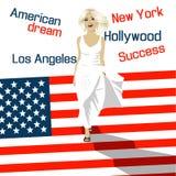 Η ξανθή γυναίκα μόδας πηγαίνει κάτω από τα σκαλοπάτια υπό μορφή αμερικανικής σημαίας ελεύθερη απεικόνιση δικαιώματος