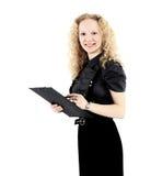 η ξανθή επιχείρηση ανασκόπησης δίνει την απομονωμένη συμπαθητική λευκή γυναίκα εκθέσεών του Στοκ φωτογραφία με δικαίωμα ελεύθερης χρήσης