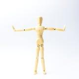 Η ξύλινη κούκλα αριθμού με επεκτείνει τη συγκίνηση όπλων για την άσκηση con Στοκ εικόνα με δικαίωμα ελεύθερης χρήσης