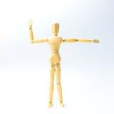 Η ξύλινη κούκλα αριθμού με επεκτείνει τη συγκίνηση όπλων για την άσκηση con Στοκ Εικόνα