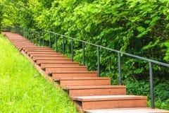 Η ξύλινη σκάλα που χρωματίζεται με το καφετί χρώμα στο πάρκο καταλήγει στο λόφο, το βουνό Στοκ Φωτογραφίες