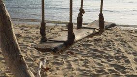 Η ξύλινη ταλάντευση κρεμά κάτω από μια παραλία άμμου και θάλασσας δέντρων απόθεμα βίντεο
