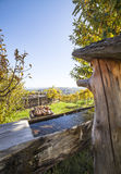 Η ξύλινη πηγή με το φρέσκο σαφές νερό μέσα με τους αμπελώνες Στοκ εικόνες με δικαίωμα ελεύθερης χρήσης