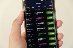 Η οθόνη γραφικών παραστάσεων αγοράς Cryptocurrency στο smartphone αγοράζει και πωλεί το κουμπί και το χέρι με το υπόβαθρο θαμπάδω στοκ εικόνα με δικαίωμα ελεύθερης χρήσης