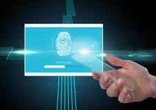 Η οθόνη και η ταυτότητα γυαλιού εκμετάλλευσης χεριών ελέγχουν App δακτυλικών αποτυπωμάτων τη διεπαφή Στοκ φωτογραφία με δικαίωμα ελεύθερης χρήσης