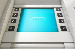 Η οθόνη του ATM πληκτρολογεί τον κωδικό ΑΣΦΑΛΕΊΑΣ Στοκ Φωτογραφίες