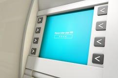 Η οθόνη του ATM πληκτρολογεί τον κωδικό ΑΣΦΑΛΕΊΑΣ Στοκ φωτογραφίες με δικαίωμα ελεύθερης χρήσης