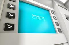 Η οθόνη του ATM πληκτρολογεί τον κωδικό ΑΣΦΑΛΕΊΑΣ Στοκ φωτογραφία με δικαίωμα ελεύθερης χρήσης