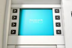 Η οθόνη του ATM πληκτρολογεί τον κωδικό ΑΣΦΑΛΕΊΑΣ Στοκ Εικόνα