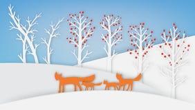 Η οικογένεια αλεπούδων περπατά με το χιόνι και το δέντρο ελεύθερη απεικόνιση δικαιώματος