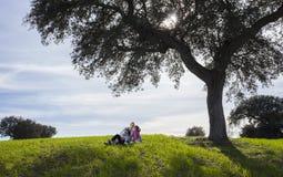 Η οικογένεια απολαμβάνει τη φύση στη φύση dehesa στοκ φωτογραφία με δικαίωμα ελεύθερης χρήσης