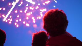 Η οικογένεια εξετάζει τον ουρανό στα πυροτεχνήματα Ο νυχτερινός ουρανός στα φω'τα απόθεμα βίντεο