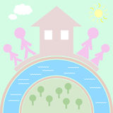 Η οικογένεια, η αγάπη και το σπίτι είναι η βάση της οικογενειακής ευτυχίας Στοκ εικόνες με δικαίωμα ελεύθερης χρήσης