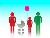 Η οικογένεια και τα παιδιά Στοκ εικόνα με δικαίωμα ελεύθερης χρήσης