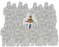 Η οικογένεια με ένα αυτιστικό παιδί σύγκρινε με άλλες οικογένειες Ημέρα παγκόσμιου αυτισμού επίσης corel σύρετε το διάνυσμα απεικ απεικόνιση αποθεμάτων