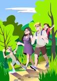 Η οικογένεια περπατά στο θερινούς κήπο, τον πατέρα, τη μητέρα, το αγόρι και το κορίτσι Διανυσματική συρμένη χέρι απεικόνιση διανυσματική απεικόνιση