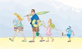 Η οικογένεια πηγαίνει στη θάλασσα Στοκ φωτογραφία με δικαίωμα ελεύθερης χρήσης