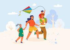 Η οικογένεια στο πάρκο προωθεί τον ικτίνο Τρέξιμο Caracters γονέων και παιδιών υπαίθριο, παίζοντας με το παιχνίδι αέρα στο Σαββατ διανυσματική απεικόνιση