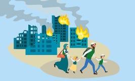 Η οικογένεια τρέχει μακριά το έμβλημα έννοιας πόλεων, επίπεδο ύφος διανυσματική απεικόνιση