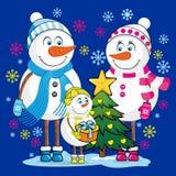 Η οικογένεια χιονανθρώπων γιορτάζει τα Χριστούγεννα και τις νέες διακοπές έτους διανυσματική απεικόνιση