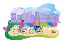 Η οικογενειακή έννοια πόλεων σταθμεύει υπαίθρια τη σκηνή με το ζεύγος που απολαμβάνει τον ενεργό ελεύθερο χρόνο οδηγώντας στα ποδ απεικόνιση αποθεμάτων