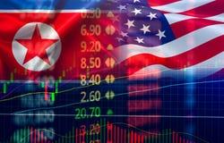 Η οικονομία ΗΠΑ Αμερική εμπορικών πολέμων και το χρηματιστήριο γραφικών παραστάσεων κηροπηγίων σημαιών Βόρεια Κορεών ανταλλάσσουν στοκ φωτογραφίες με δικαίωμα ελεύθερης χρήσης