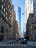 Η οικονομική περιοχή στην πόλη της Νέας Υόρκης με τη CEN παγκόσμιου εμπορίου Στοκ φωτογραφία με δικαίωμα ελεύθερης χρήσης