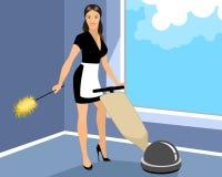 Η οικονόμος καθαρίζει το δωμάτιο Στοκ Φωτογραφία